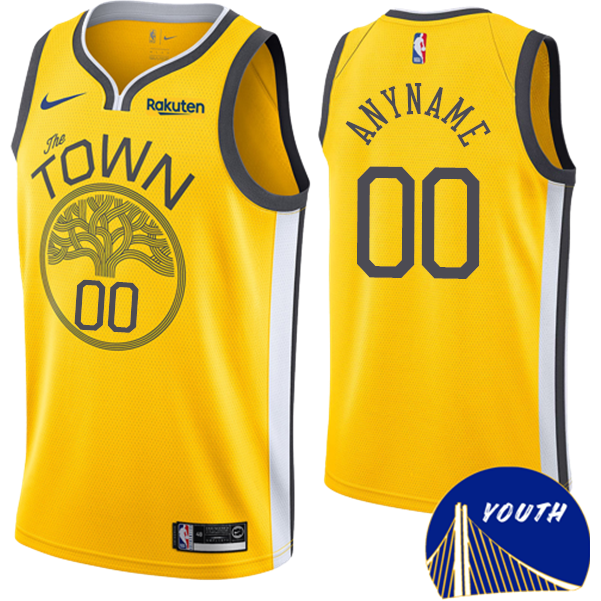 d6fdb3312c9 Golden State Warriors Nike Dri-FIT Youth  The Town  Custom Earned Edition  Swingman Jersey - Gold